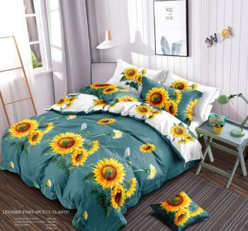 lenjerie_pat_verde_floarea_soarelui_elastic